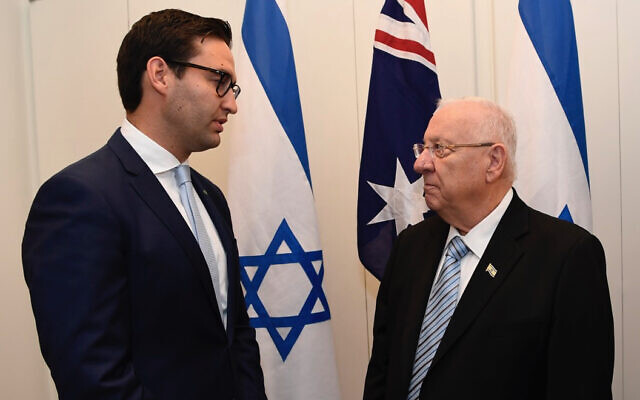 Labor MP Josh Burns (left) and Israeli President Reuven Rivlin in Canberra on Wednesday. Photo: Auspic