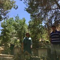 Shoshana and David Rothberg at their grandmother's grave on Mt Gilboa, Israel.