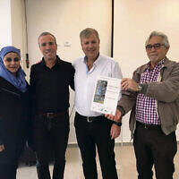 From left: Bedouin representative Jalila Tallal, Elazar Stern MK, Bnei Shimon Regional Council Mayor Nir Zamir, Triguboff Institute CEO Shalom Norman.