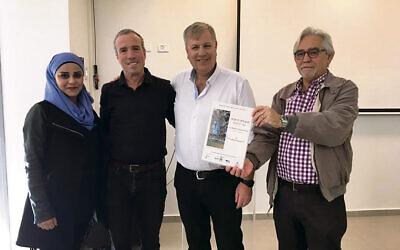 From left: Bedouin representative Jalila Tallal, Elazar Stern MK, Bnei Shimon Regional Council Mayor Nir Zamir, Triguboff Institute CEO Shalom Norman.
