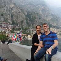 """Ruth and Gary Trytell in the town of """"Limone"""" in Lake Garda, Italy."""