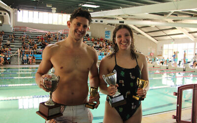 Kyron Israelsohn (left) and Eliyah Malkin won The AJN Cup men's and women's 100m freestyle races at the 70th NSW Jewish Swimming Championships last Sunday. Photo: Shane Desiatnik
