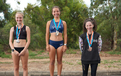 Race walker Jemima Montag (centre) will make her Olympics debut in July after winning the women's race at the 2020 Oceania and Australian 20km Race Walking Championships in Adelaide.