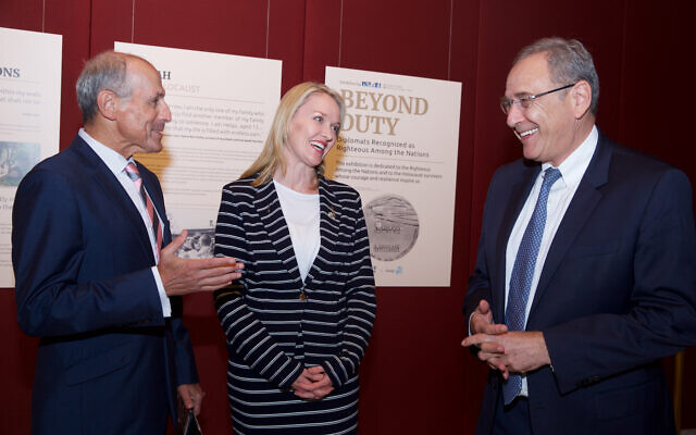 From left: Vic Alhadeff, Natalie Ward and Mark Sofer at the opening of the Beyond Duty exhibition at NSW Parliament House. Photo: Giselle Haber