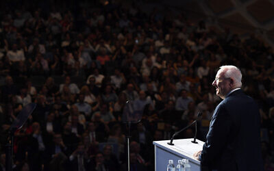 President Rivlin addressing the United Israel Appeal NSW gala event on Sunday night. Photo: Kobi Gideon/GPO