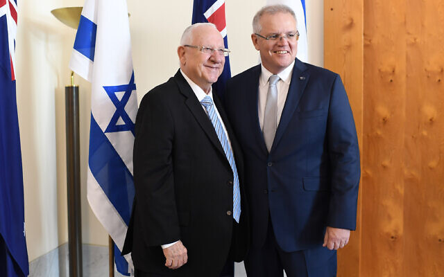 President Rivlin with Prime Minister Scott Morrison in Parliament on Wednesday morning. Photo: Kobi Gideon/GPO