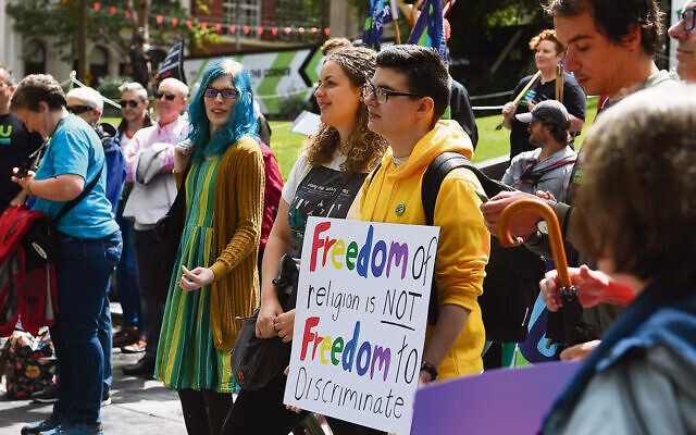 Protesters outside the State Library of Victoria on Sunday, February 9. Photo: AAP Image/James Ross