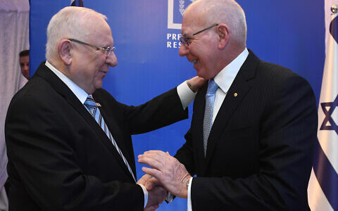 Israeli President Reuven Rivlin and Australian Governor-General David Hurley in Israel last month. Photo: Mark Neyman/GPO