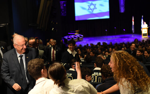 It's selfie time: President Rivlin posing for a photo with students at Melbourne's Mount Scopus Memorial College on Monday. Photo: Kobi Gideon/GPO
