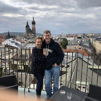 Ruth and Gary Trytell take in the views of Krakow from a rooftop cafe.