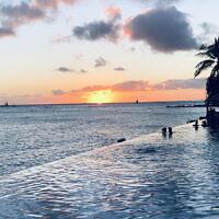 SUNSET FINALIST B: Sunset at Waikiki beach, Hawaii. Photo entered by Sue Rudzyn.