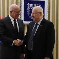 Australian Governor-General David Hurley and Israeli President Reuven Rivlin in Israel last month. Photo: Haim Zach/GPO