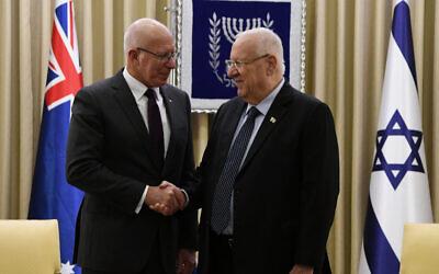 Australian Governor-General David Hurley and Israeli President Reuven Rivlin in Israel last month. Photo: Haim Zach/GPO
