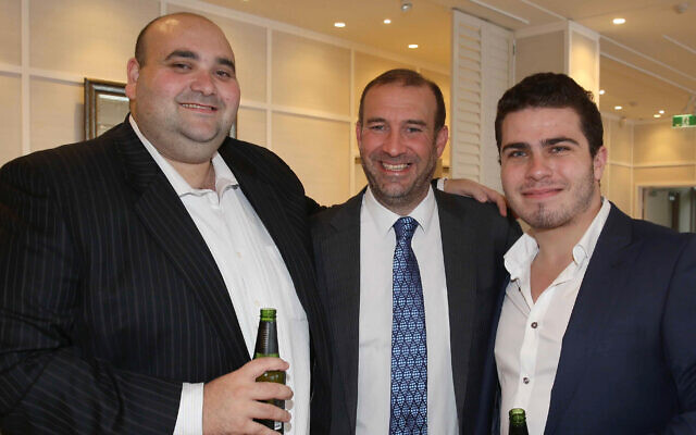 Joshua Levi, AJN national editor Zeddy Lawrence and digital editor Evan Zlatkis at The AJN's 120th anniversary celebrations in Sydney in 2015. Photo: Noel Kessel