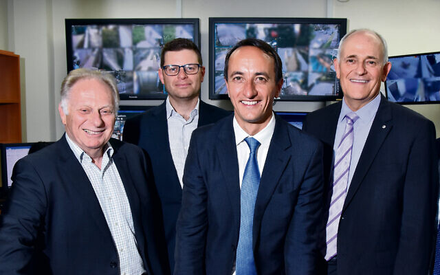 Wentworth MP Dave Sharma (second from right) visiting CSG in 2018. Also pictured are key players in the JEMP (from left) Council for Jewish Community Security (NSW) chairman Peter Wise, NSW Jewish Board of Deputies president Lesli Berger and Executive Council of Australian Jewry co-CEO Peter Wertheim. Photo: Noel Kessel