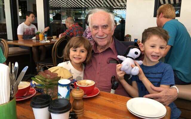Laurie Rosenblum with great-grandchildren Eve and Noah Revelman.