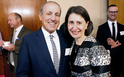 NSW Jewish Board of Deputies chief executive Vic Alhadeff with NSW Premier Gladys Berejiklian.