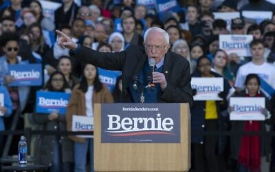 Bernie Sanders speaks during a campaign rally at the University of Michigan on Sunday. Photo: EPA/Rena Laverty