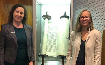 Sarah Hardman (left) with JHC museum director Jayne Josem.