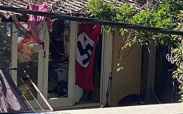 The offending flag at a Newtown home.