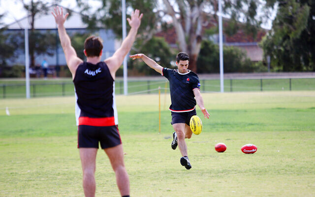 Nick Lewis and Kane Nissenbaum in a one-on-one training session. Photos: Peter Haskin