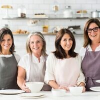 Monday Morning Cooking Club's Merelyn Frank Chalmers, Lisa Goldberg, Natanya Eskin and Jacqui Israel in the kitchen. Photo: Alan Benson