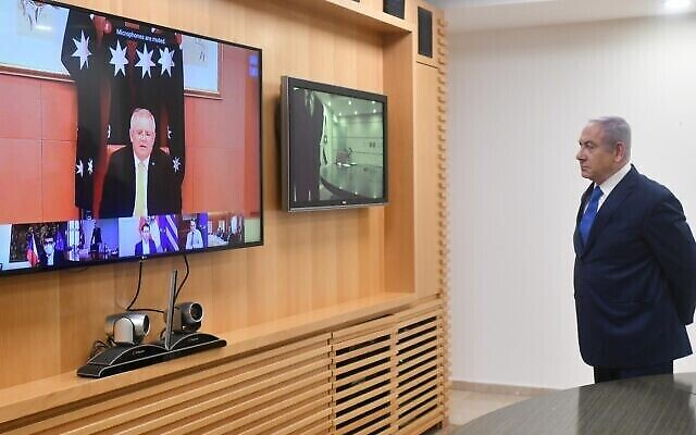 Israeli Prime Minister Benjamin Netanyahu takes part in a video call with Australian Prime Minister Scott Morrison and other world leaders on April 24, 2020. Photo: Haim Zach/GPO