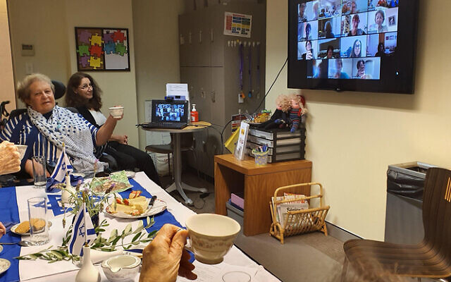 Montefiore residents enjoying a virtual afternoon tea last week.
