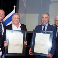 Lance Rosenberg (third from left) was awarded life chairmanship of UIA for his many years of commitment. He is pictured with (from left) NSW president Andrew Boyarsky, fellow life chairman Bruce Fink and Steven Lowy.