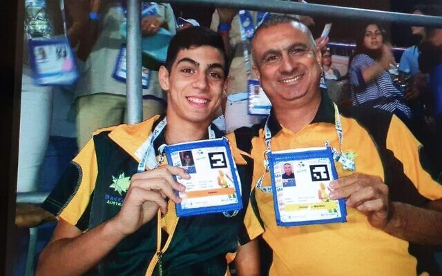 Amit Ben-Ygal with his father Baruch in Australian team colours at the 2013 Maccabiah Games.