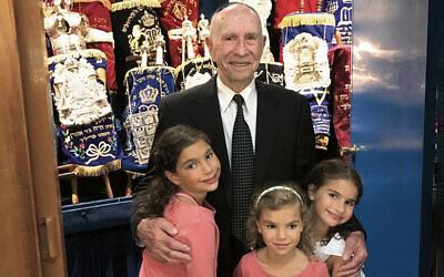 Zvi Sharp with his great-grandchildren (from left) Zahara, Ariella and Mayah Sharp.