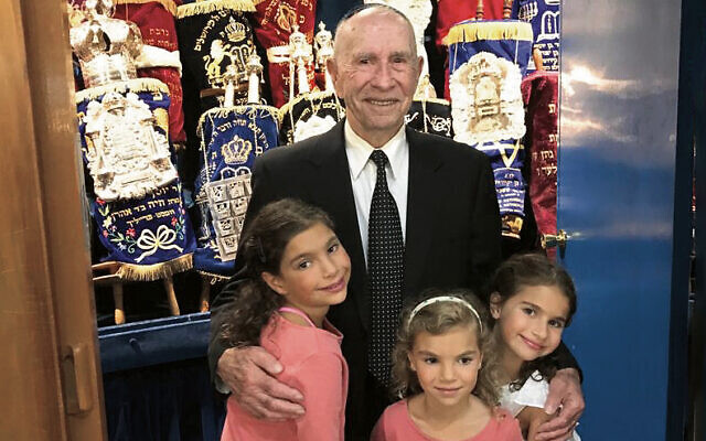 Zvi Sharp with his great-grandchildren (from left) Zahara, Ariella and Mayah Sharp.