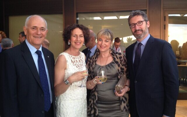 From left: Executive Council of Australian Jewry co-CEO Peter Wertheim, Board of Deputies of British Jews CEO Gillian Merron and president Marie van der Zyl, and Australia's ambassador to Israel Chris Cannan.