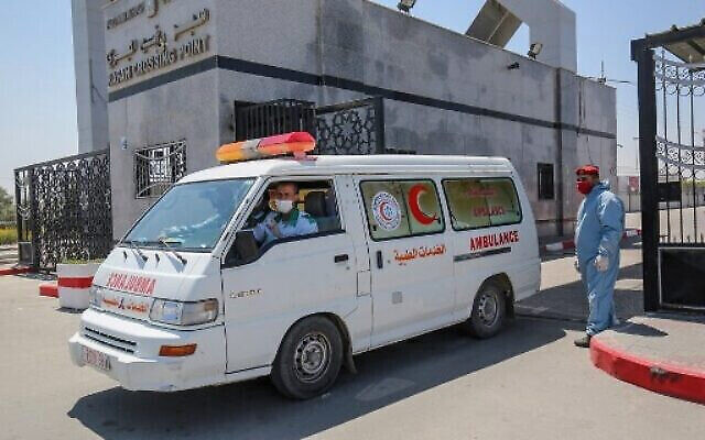 An ambulance in the southern Gaza Strip on April 13, 2020. Photo: Said Khatib/AFP