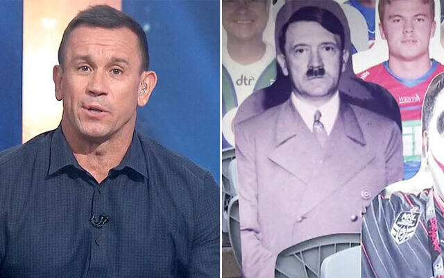 Matty Johns (left) has apologised for the image of Hitler (right) that appeared on his show on Fox Sports last Sunday. Photo: Fox Sports/Twitter