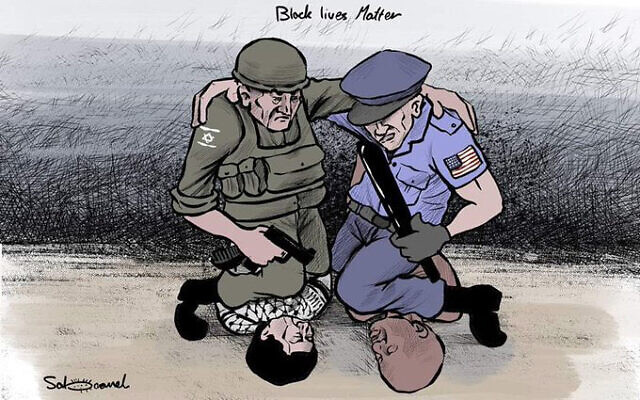 A cartoon comparing the killing of George Floyd to Israel's treatment of the Palestinians.