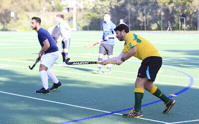 Maccabi Hockey Club men's players Lawrence Lipson (right) and Ethan Kravietz back at training on June 14 at Albert Park. Photo: Peter Haskin