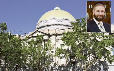 Above: Melbourne Hebrew Congregation. Inset: Rabbi Ephraim Lever.