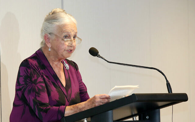 Olga Horak at a Sydney Jewish Museum Holocaust memorial ceremony.