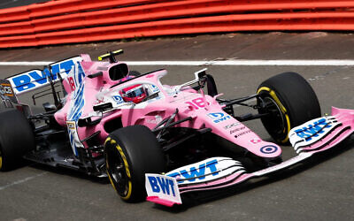 Racing Point's Lance Stroll getting some practice driving in at Silverstone on June 17.