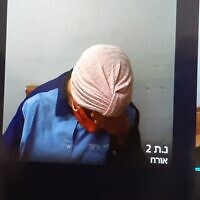 Malka Leifer refuses to raise her head while appearing over Skype during an extradition hearing at the Jerusalem District Court on July 20, 2020. Photo: Jacob Magid/Times of Israel