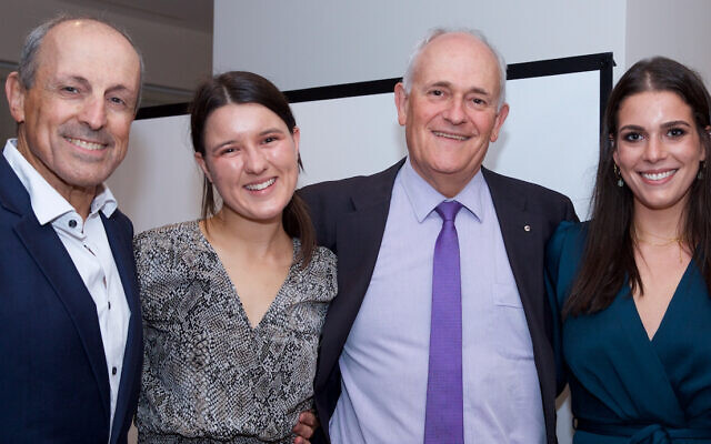 From left: JBOD CEO Vic Alhadeff, Gabi Stricker-Phelps, Executive Council of Australian Jewry co-CEO Peter Wertheim and Julia Sussman at last year's Jeremy Spinak Young Leaders graduation dinner.