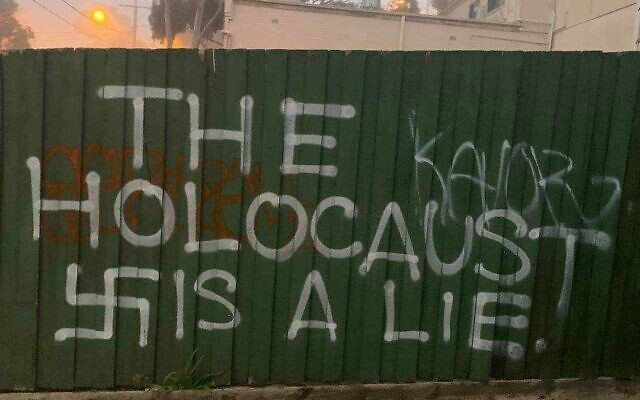 Antisemitic graffiti on a Jewish-owned cafe in Chadstone last July.