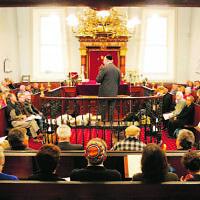 Rabbi John Levi leading the 160th anniversary celebrations in 2005. Photo: Courtesy of the Hobart Mercury