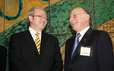 Kevin Rudd (left) and Mark Leibler celebrating Israel's 60th birthday at Parliament House in 2008. Photo: Peter Haskin