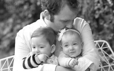 The late Jeremy Spinak with his twins Michael and Grace. Photo: Supplied