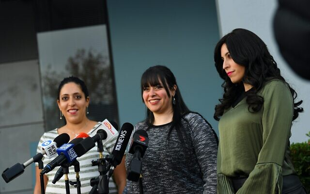 Alleged victims of Malka Leifer, sisters (from left) Elly Sapper, Dassi Erlich and Nicole Meyer speak to the media during a press conference in May following the Israeli court ruling that Leifer is mentally fit to be extradited to Australia. Photo: AAP Image/James Ross