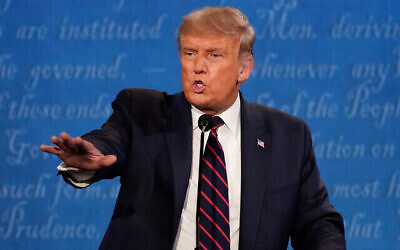 President Donald Trump gestures while speaking during the first presidential debate Tuesday, Sept. 29, 2020, at Case Western University and Cleveland Clinic, in Cleveland, Ohio. (AP Photo/Julio Cortez)