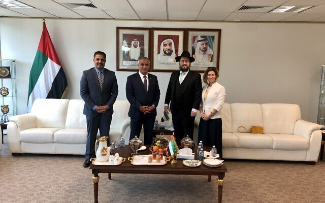 From left: UAE Canberra embassy's Deputy Chief of Mission Hamad Alawadi, UAE Ambassador to Australia Abdulla Al Subousi, Rabbi Shmueli Feldman and Rebbetzin Chasia Feldman.