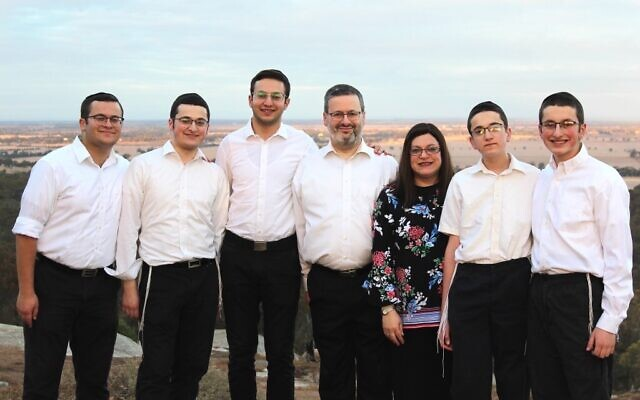 David and Miriam Klein (centre) with their sons, from left, Yoni, Gavriel, Benji, Zevi and Ari.